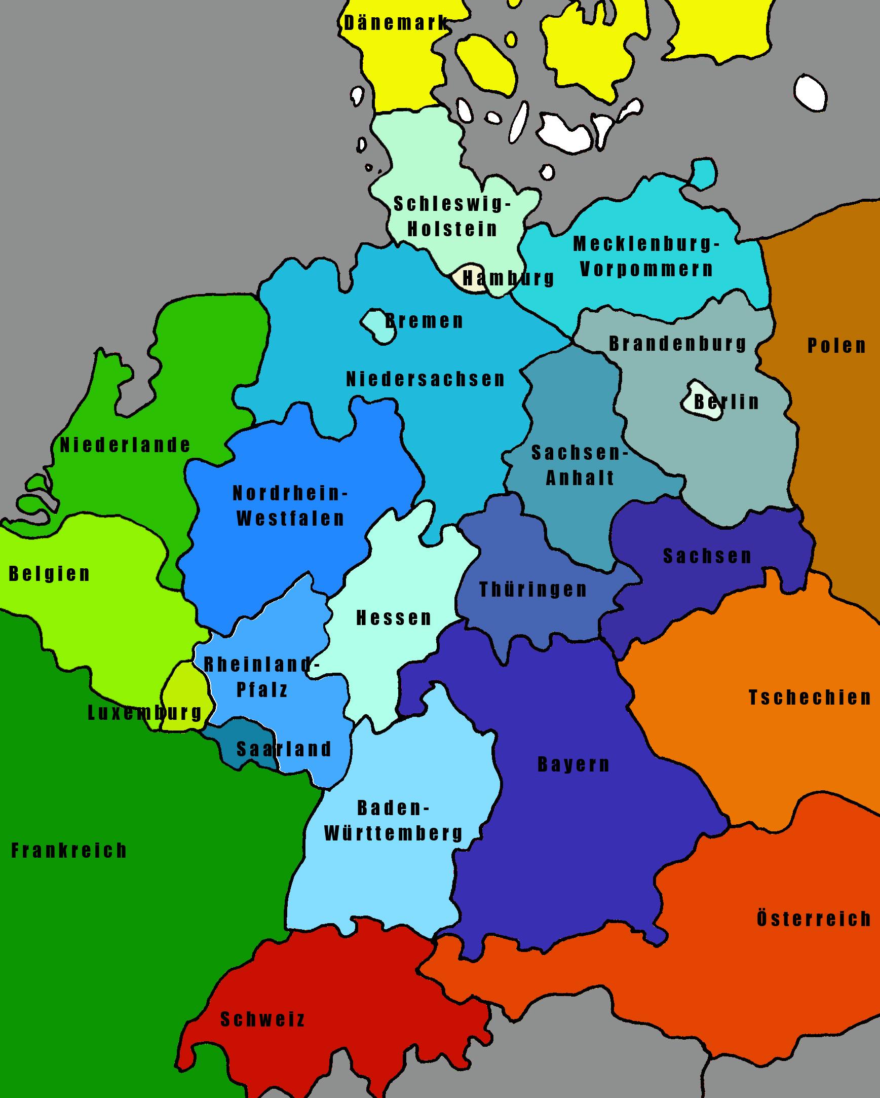 Deutschlandkarte Angrenzende Länder